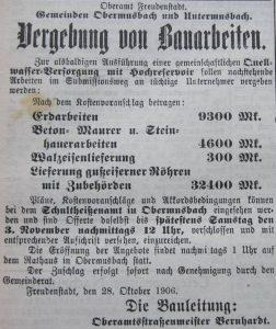 Ausschreibung Bauarbeiten 1906