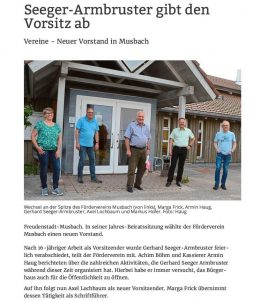 Vorstandswechsel Förderverein 2021